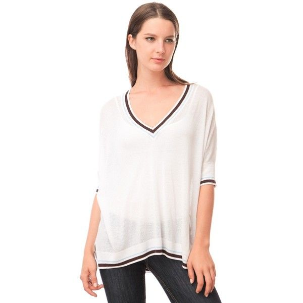 fbf1d85d64c90c 525 America Elbow Sleeve Tipped V Neck (110 AUD) ❤ liked on Polyvore  featuring tops, bleach white combo, women tops, elbow length sleeve tops, v-neck  top, ...