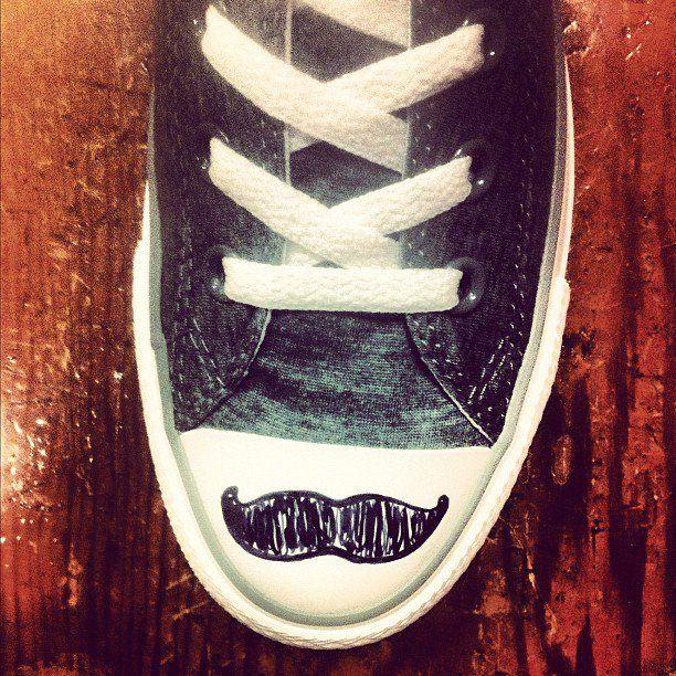 Mustache shoes :3
