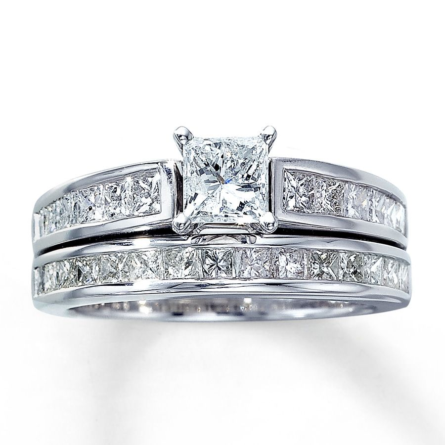 Diamond Bridal Set 2 Ct Tw Princess Cut 14k White Gold