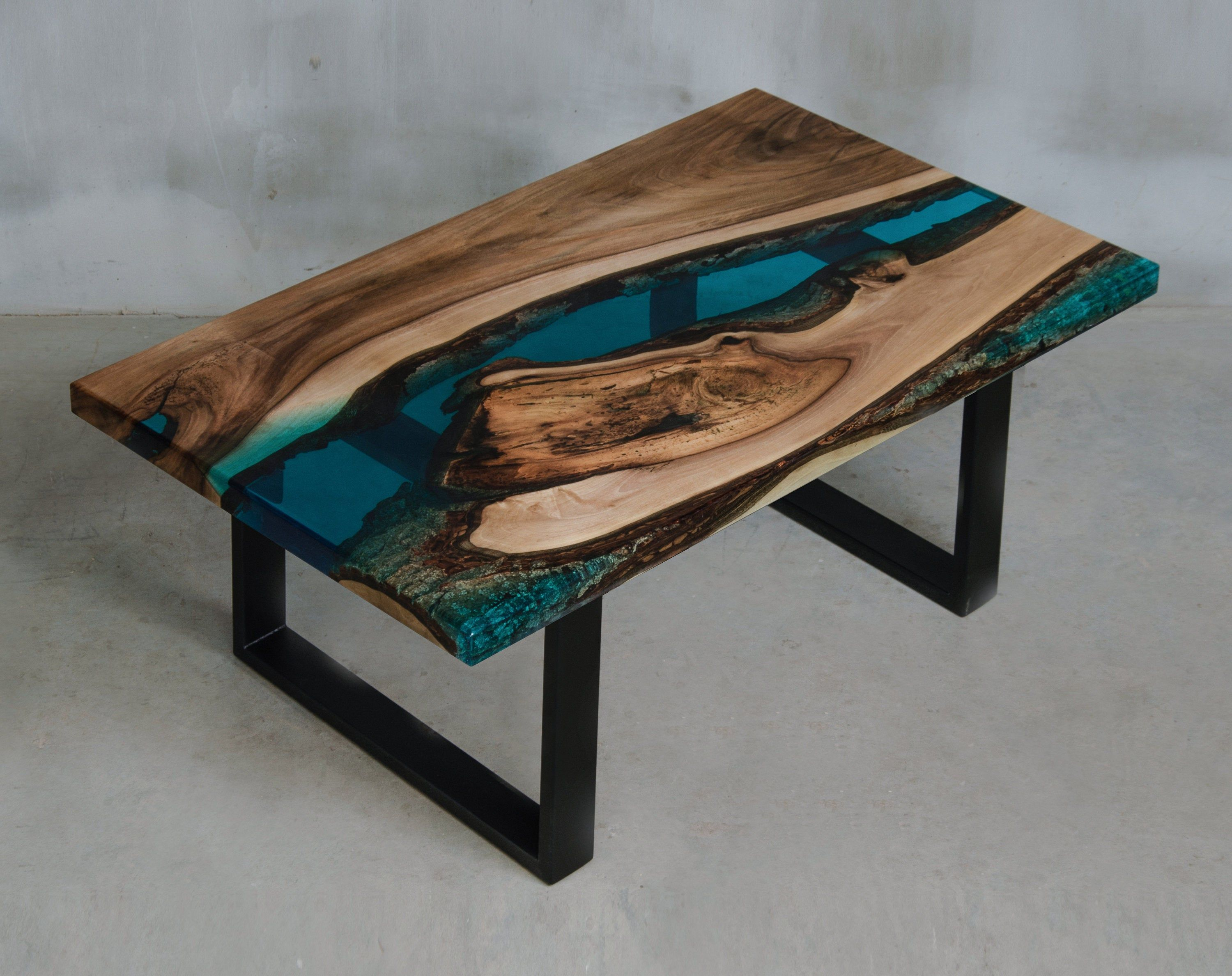 Custom Live Edge Coffee Table Made With Walnut Blue Uv Resin Table One Of The Kind Epoxy Table Matches To Modern Home And Boutique Hotel Live Edge Coffee Table Resin Table [ 2378 x 3000 Pixel ]