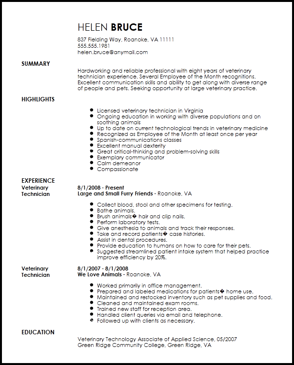 resume veterinary technician ray tech certified sample