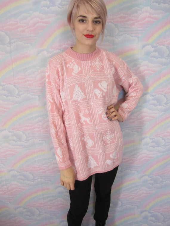 Pastel Ugly Christmas Sweater Kawaii 80s 90s Oversize Xmas Tacky Girly Femme Vintage Jumper Womens Size Medium