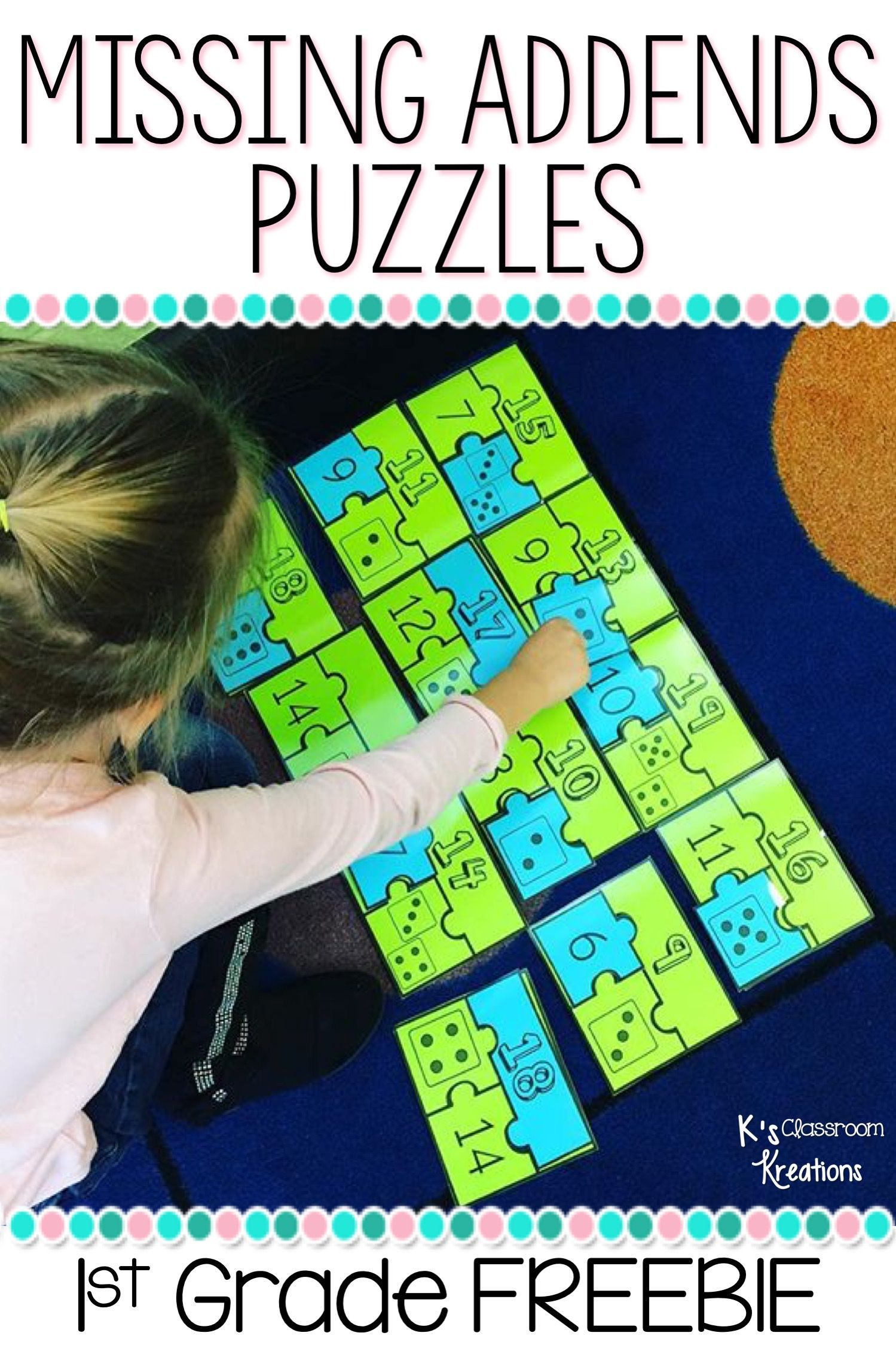 1 Oa 8 Missing Addends Puzzle Freebie