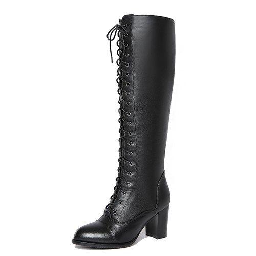 0598b7c297b Gdgydh 2018 Winter Lacing Knee High Boots Women Spring Autumn Female Rubber  Sole High Heels Woman