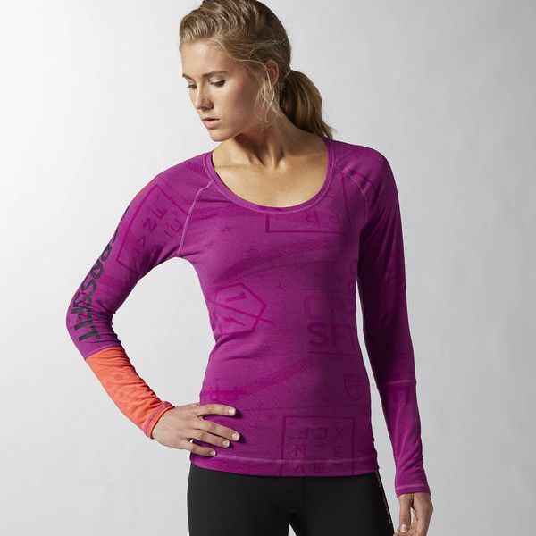Reebok CrossFit Burnout Top ($55) ❤ liked on Polyvore featuring activewear, activewear tops, fierce fucshia, reebok activewear, reebok sportswear and reebok