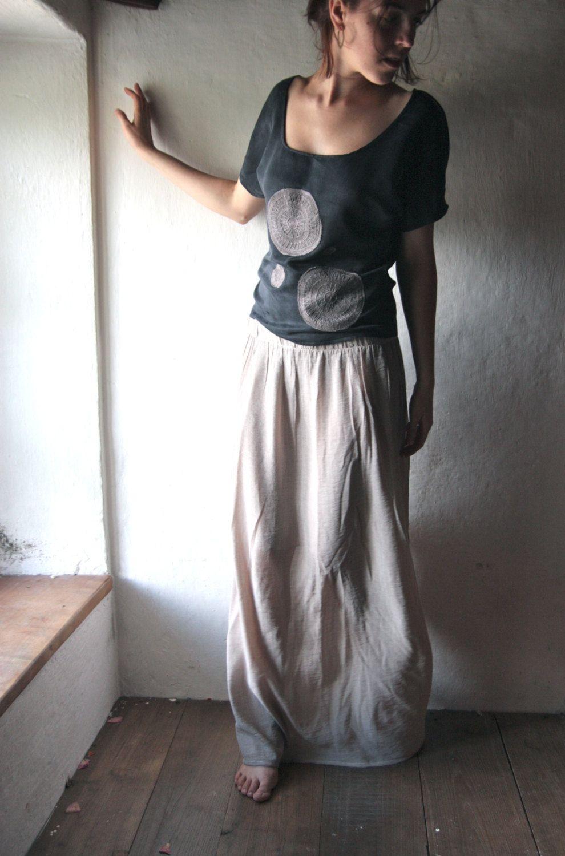 Maxi skirt long grey floor length gathered skirt by larimeloom