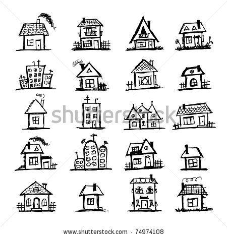 sketch of art houses for your design blogging frames brushes clip art etc pinterest. Black Bedroom Furniture Sets. Home Design Ideas