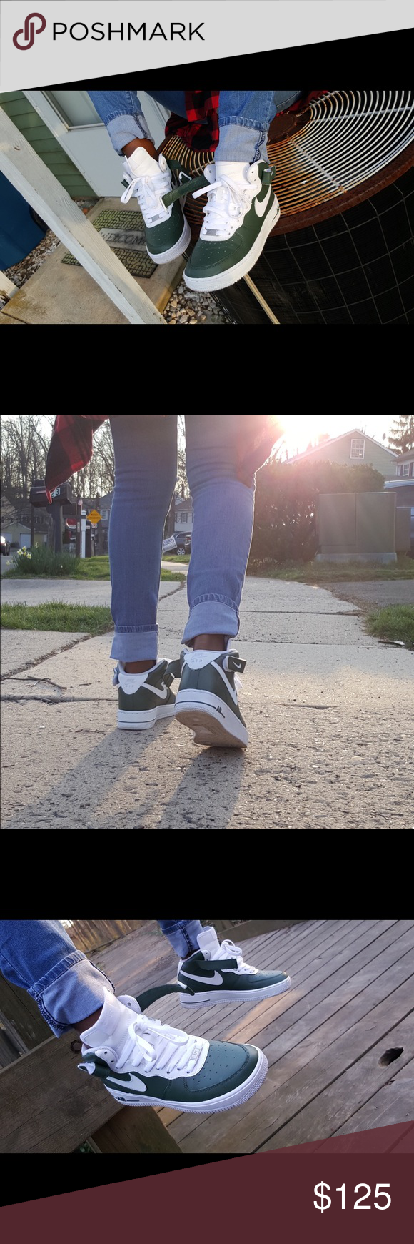 buy online 99b3c 2da0f khaki green Nike Air Force 1 (high top) boys size 7   girls size 8.5, custom  color, worn only in photos Nike Shoes Sneakers