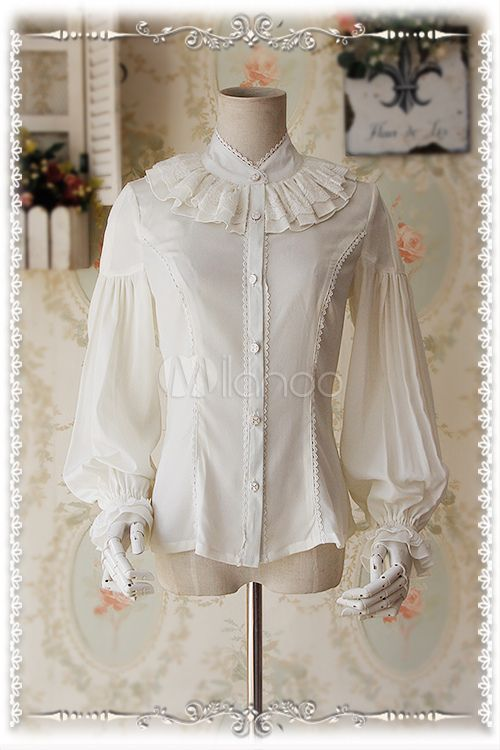 685262c10a48d Sweet White Chiffon Cascading Ruffles Lolita Blouse - Lolitashow.com