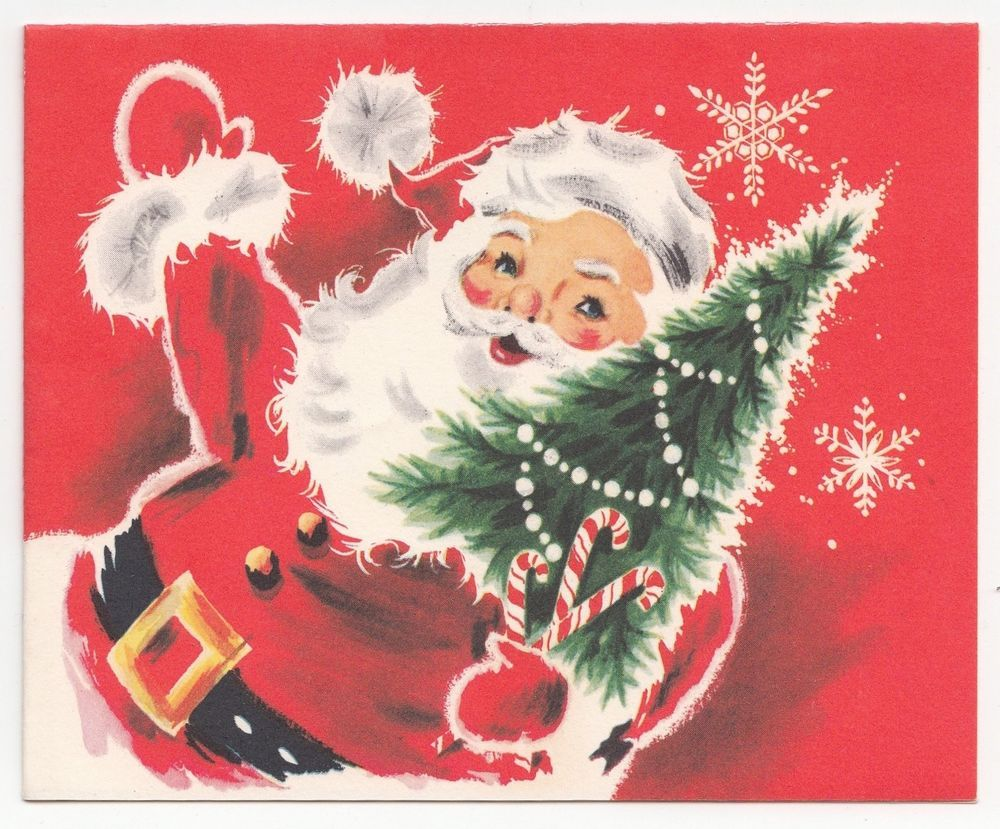 Vintage Greeting Card Christmas Santa Claus Tree Snowflakes Mid