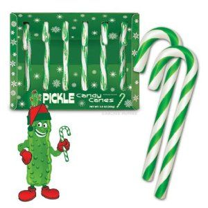 Pickle candy? What's next, pickle ice cream?  Fancy Pickle flavored Candy Canes, 3.8 OZ