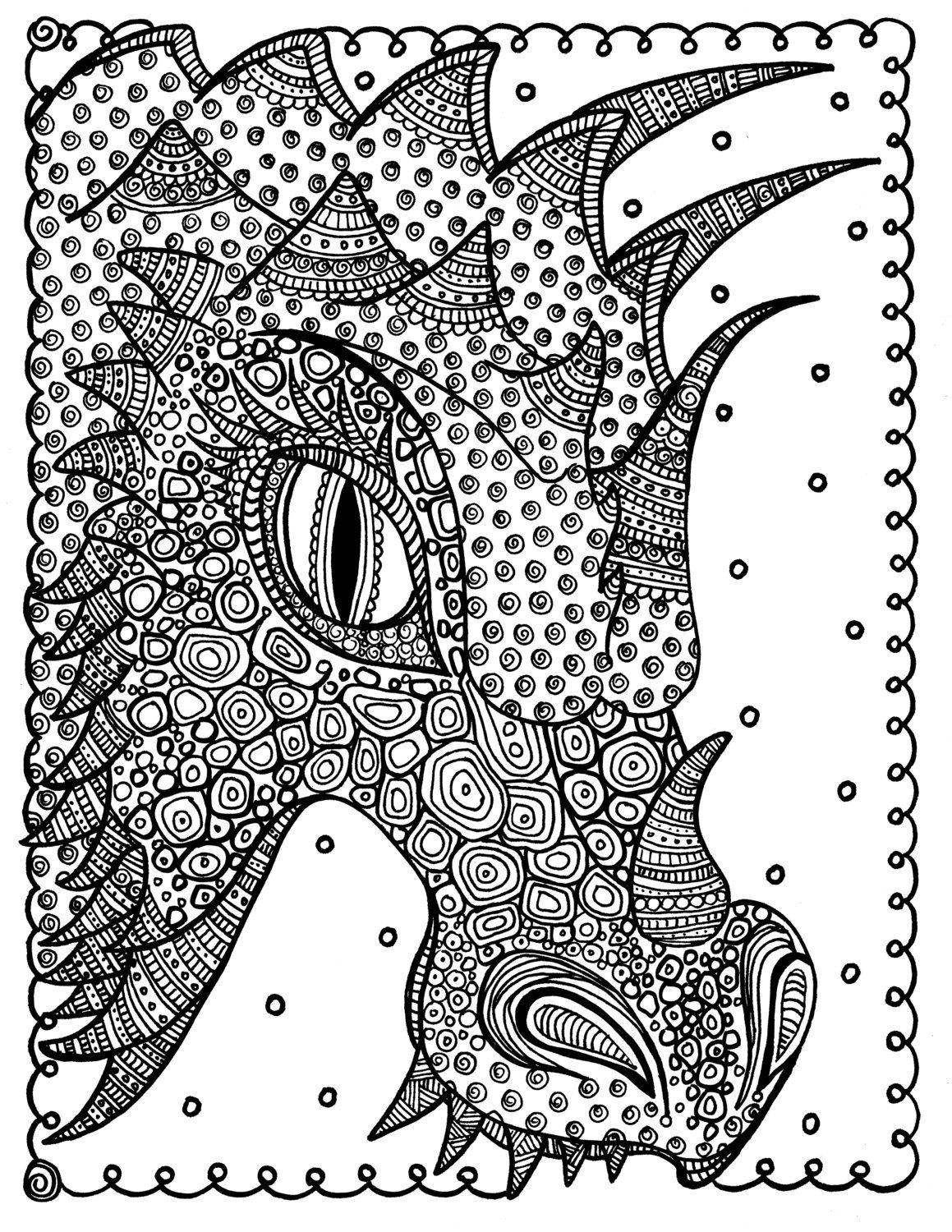 5 Pages Instant Download Dragons 5 Pictures To Color Fantasy Etsy Coloring Pages Dragon Coloring Page Coloring Books