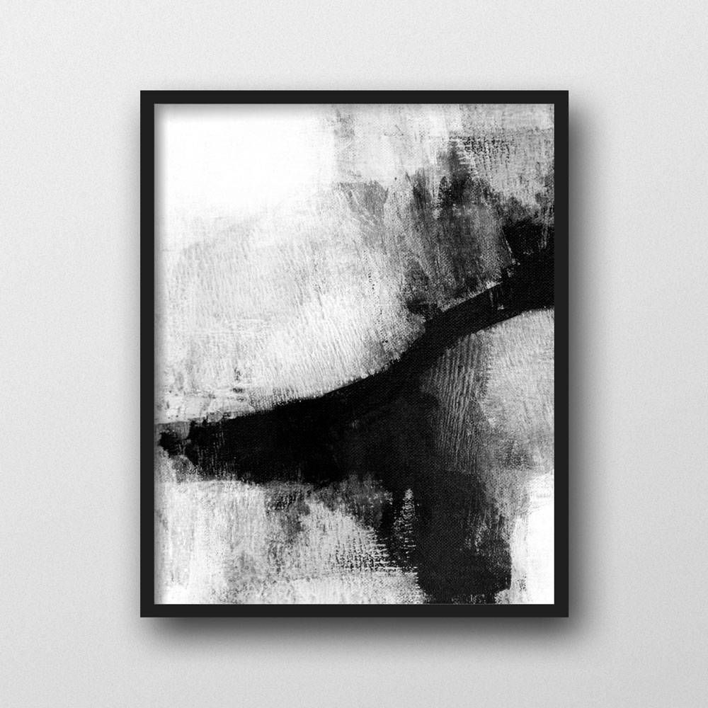 Minimalist Painting, Abstract Print, Black & White Print, Scandinavian  Modern Wall Art,