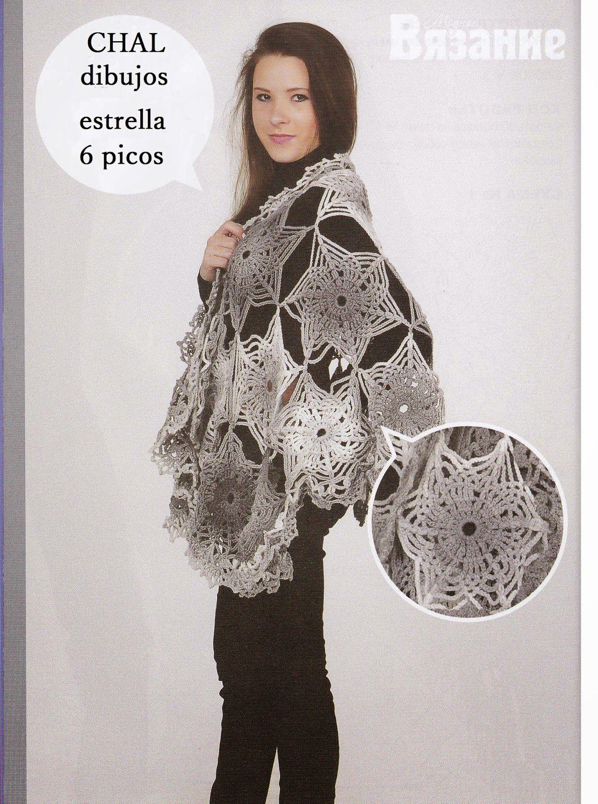 Chal dibujo Estrella 6 picos Patron - Patrones Crochet | DIY ...