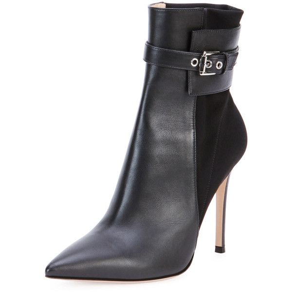 Gianvito Rossi Leather Stretch-Back Ankle Boot ($560) ❤ liked on Polyvore