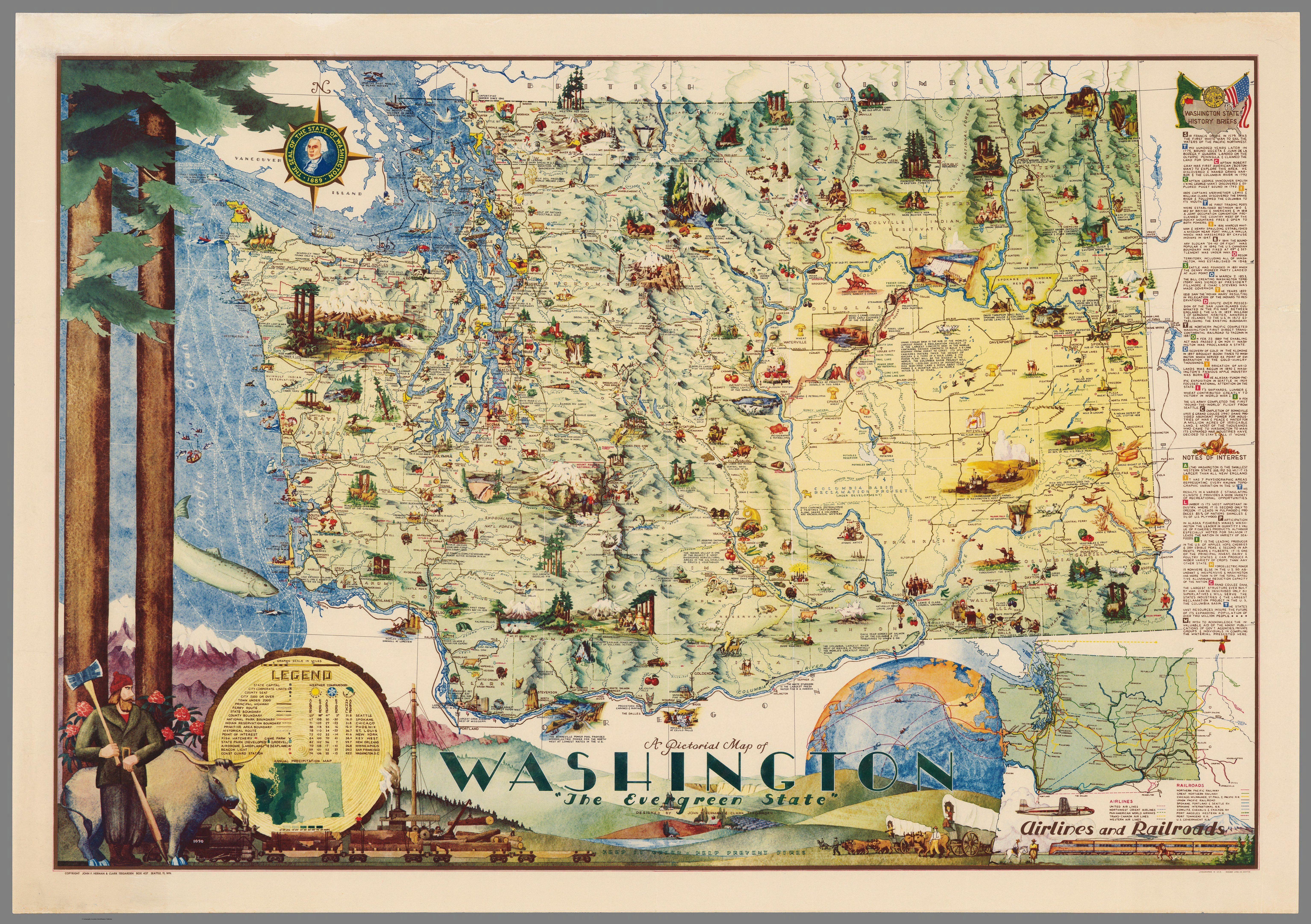 Washington A Pictorial Map Of The Evergreen State From