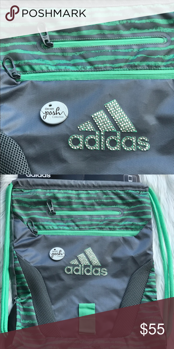 20e5b8098f Gray Adidas Customized Rhinestone Sport Sackpack Customized Adidas  drawstring bag with custom hand placed iridescent rhinestones
