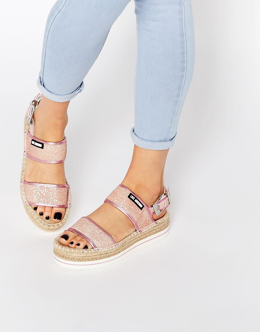 Image 1 of Love Moschino Glitter Love Moschino Espadrille Sandals