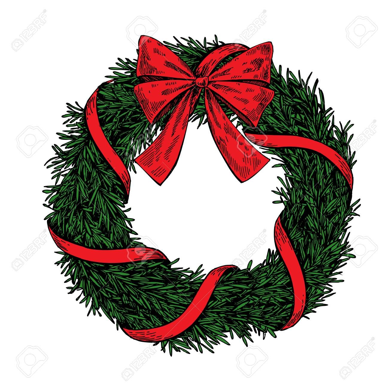 Christmas Wreath Vector Hand Drawn Christmas Wreath Illustration Wreath Illustration Wreath Drawing