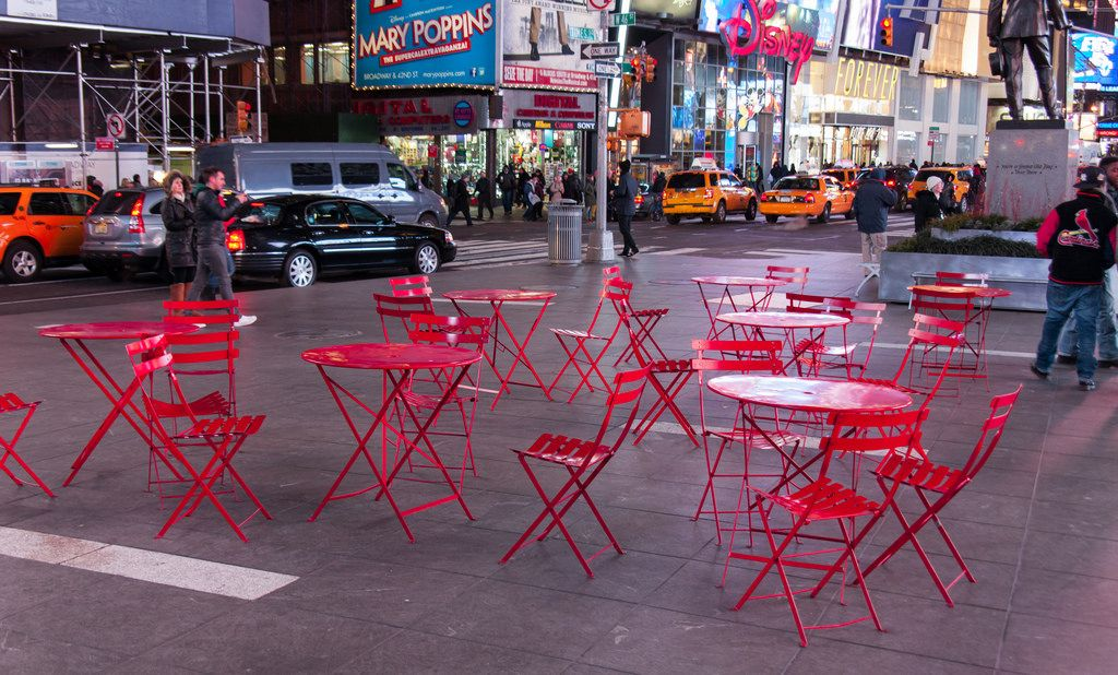 Times Square Nyc Fermob Red Bistro Chairs And Tables Bistro Chairs Fermob Contract Furniture