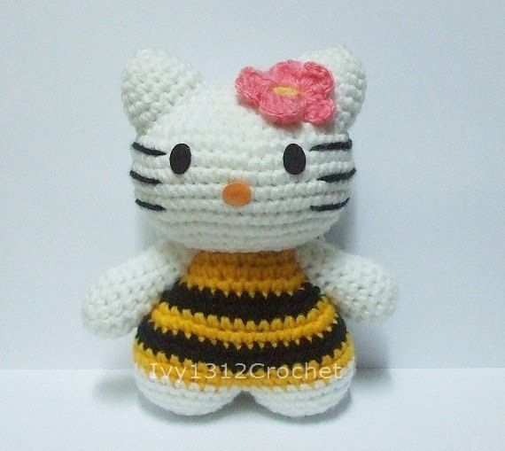 Hello Kitty Bee 63  Finished Handmade Amigurumi by Ivy1312Crochet, $18.50
