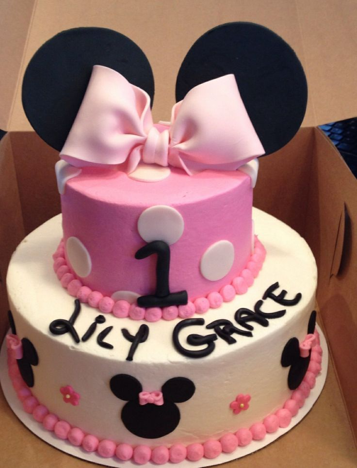 Fantastic Minnie Mouse Cakes 1St Birthday Minnie Mouse First Birthday Cake Funny Birthday Cards Online Unhofree Goldxyz
