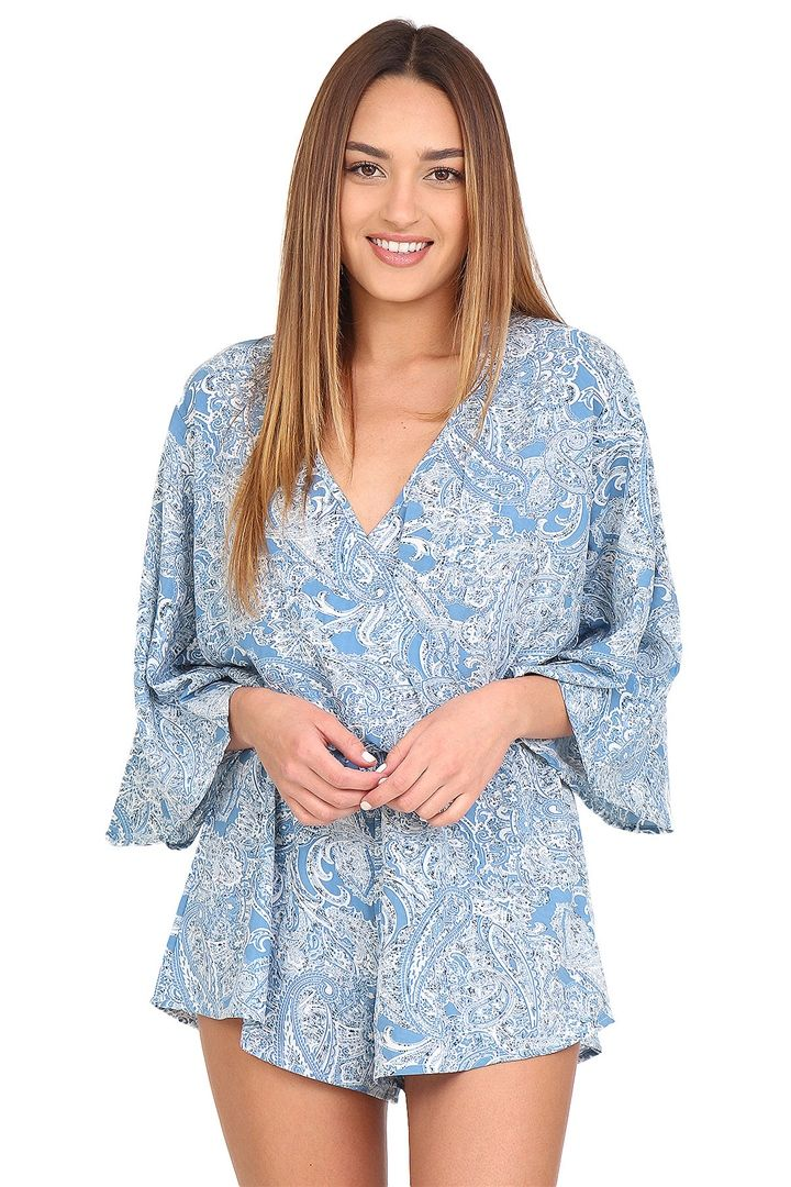 d2c36874673 Find this Pin and more on BLUSH New Arrivals. Blue paisley romper ...