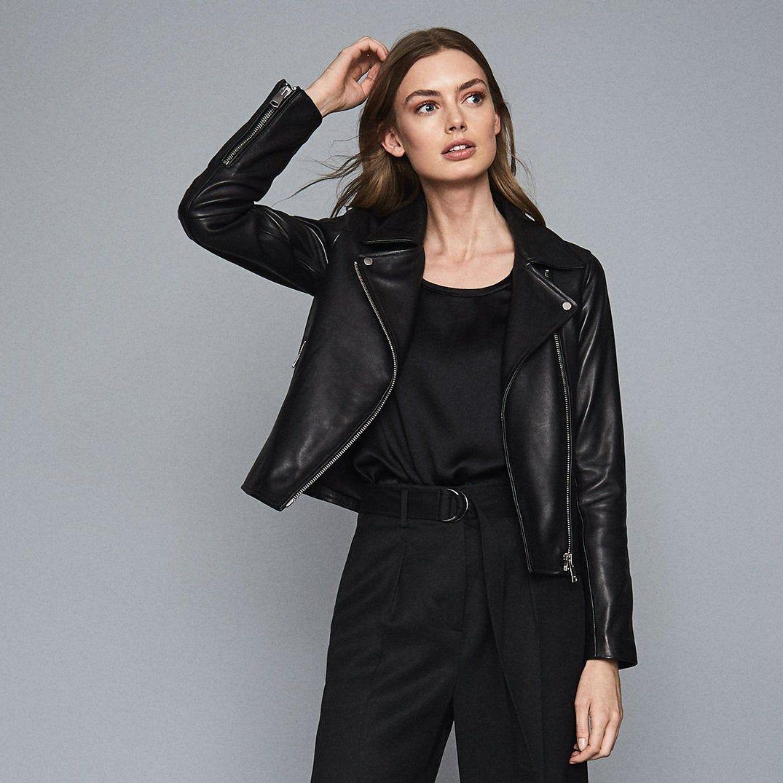 Geo Black Leather Biker Jacket Reiss Leather Biker Jacket Black Leather Biker Jacket Biker Jacket [ 1075 x 1075 Pixel ]