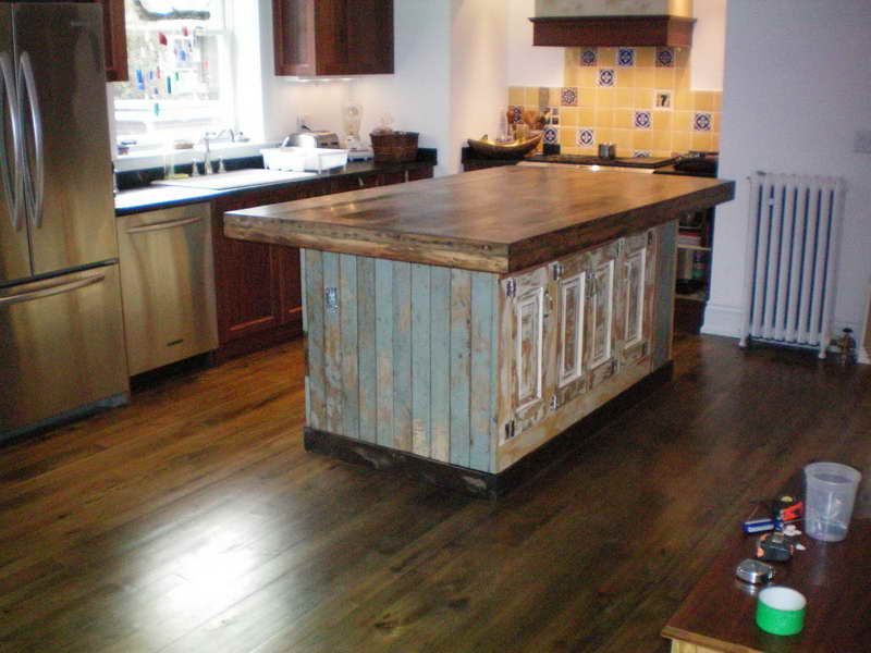 Reclaimed Wood Kitchen Island Vintage Design