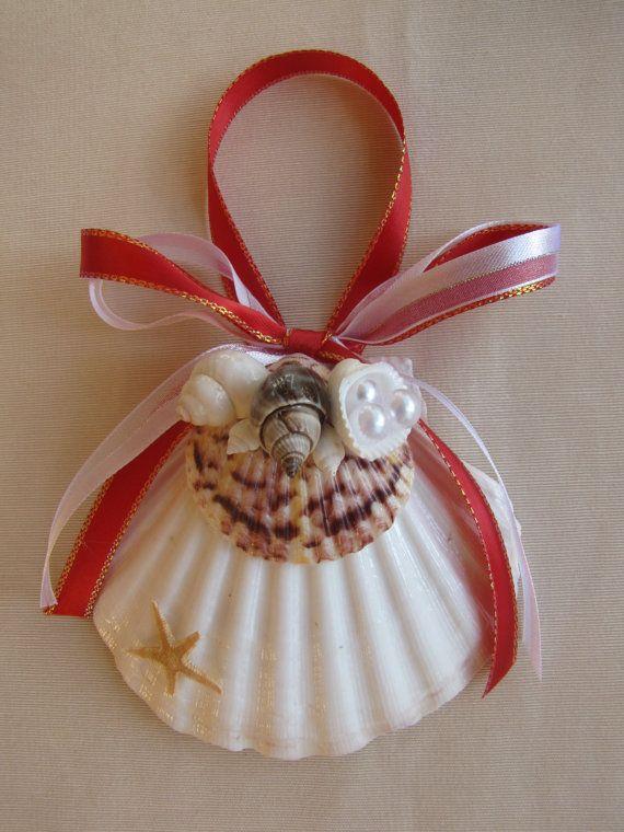 Scallop shell ornament beach decor christmas