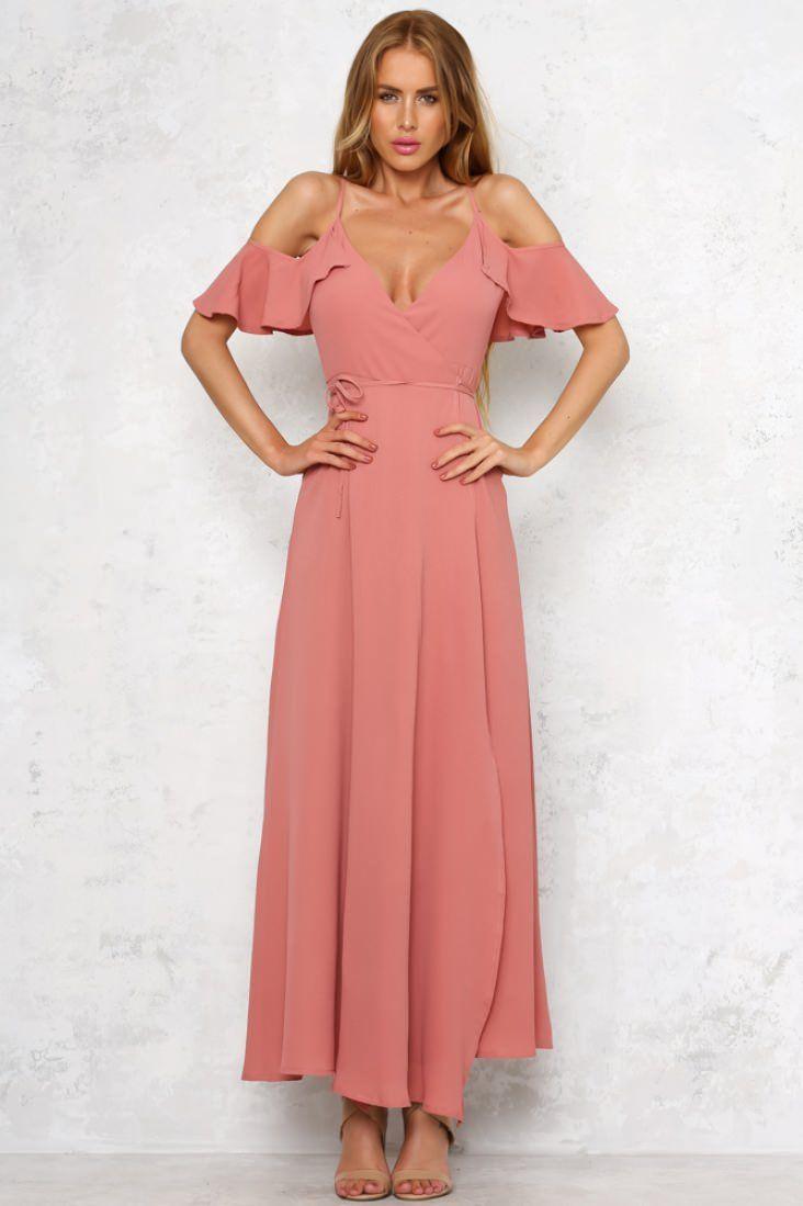 HelloMolly | Simplify Maxi Dress Dark Blush