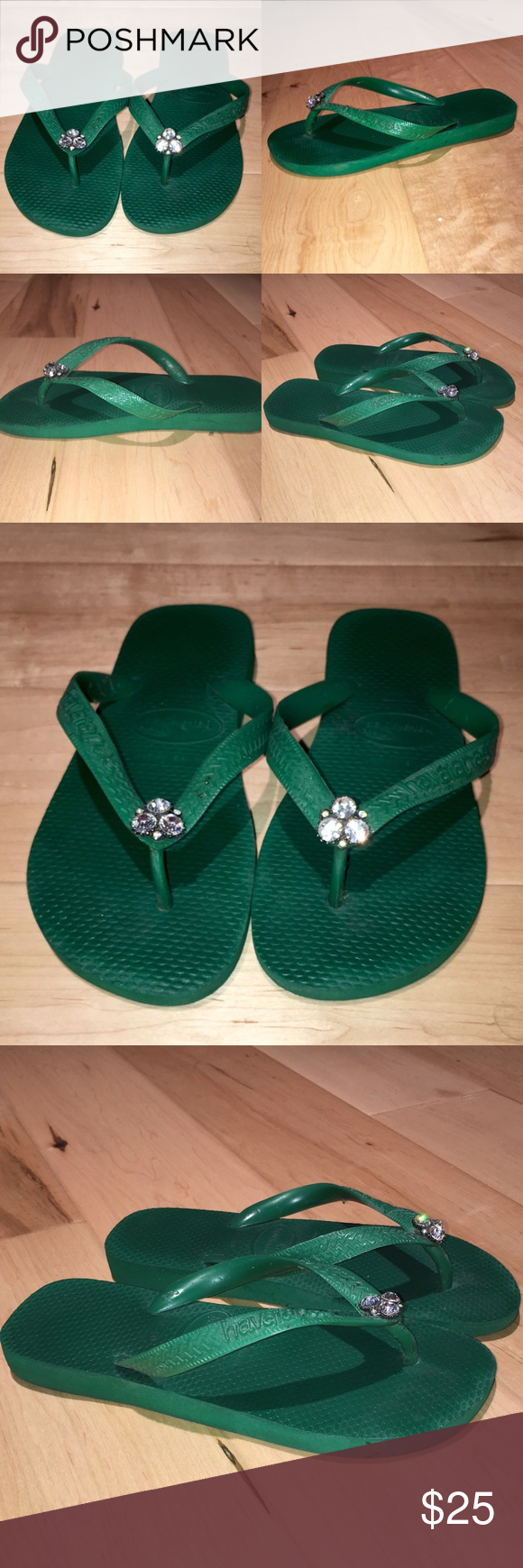737e1cdccbbf Havaianas Green Blinged Flip Flops Havaianas Green Flip Flops with Diamond  Center 35-36 Euro Havaianas Shoes Sandals