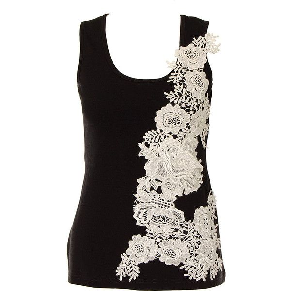 Innocent Lace Flower Vest (Black) | Blue Banana UK ($31) ❤ liked on Polyvore featuring outerwear, vests, tops, black waistcoat, black vest, black lace vest, lace vest and vest waistcoat