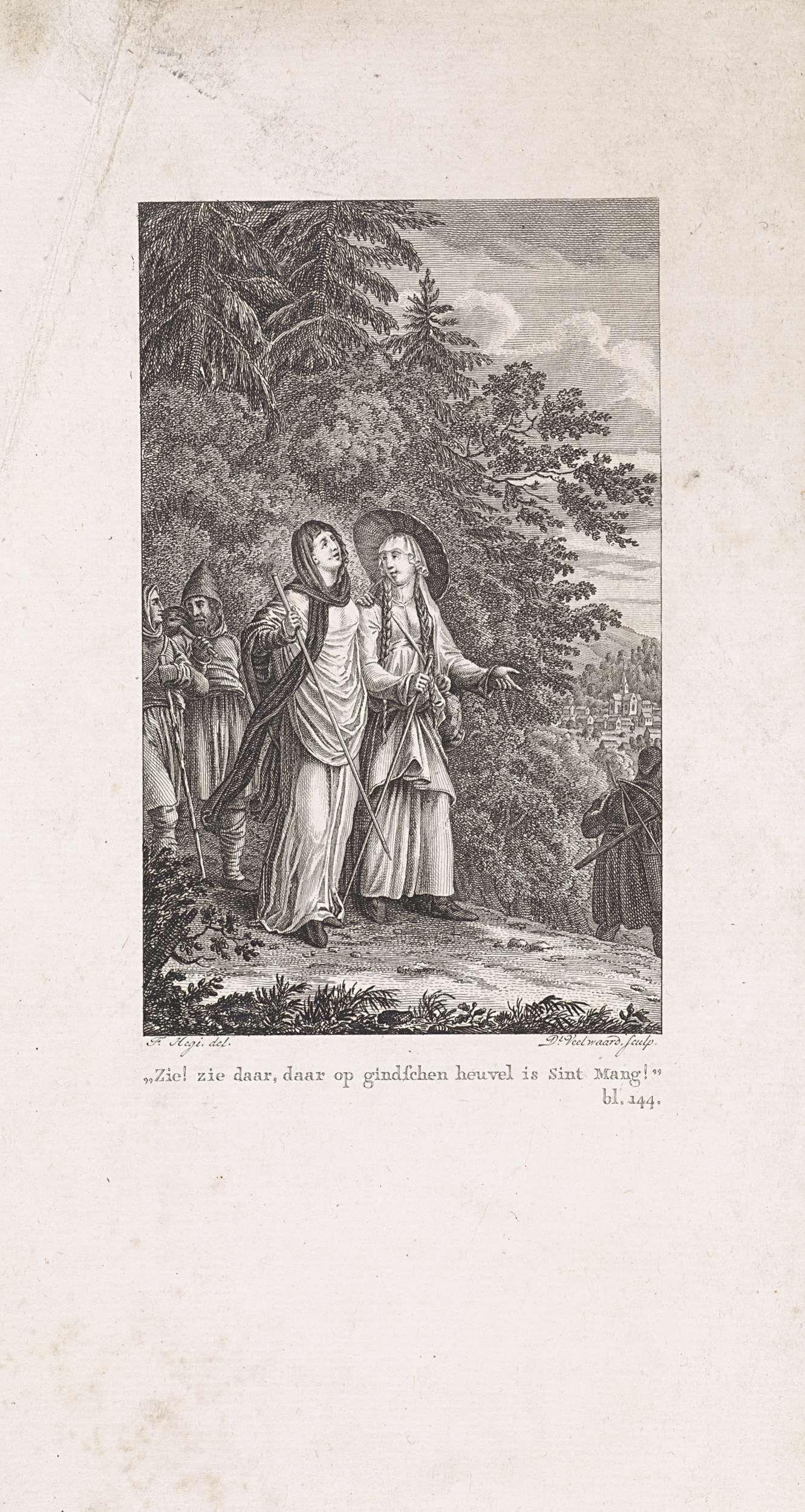 Daniël Veelwaard (I) | Twee vrouwelijke pelgrims op een bospad, Daniël Veelwaard (I), 1776 - 1851 | Twee vrouwelijke pelgrims op een bospad, met achter en voor hen nog andere reizigers. rechtsonder: bl. 144.