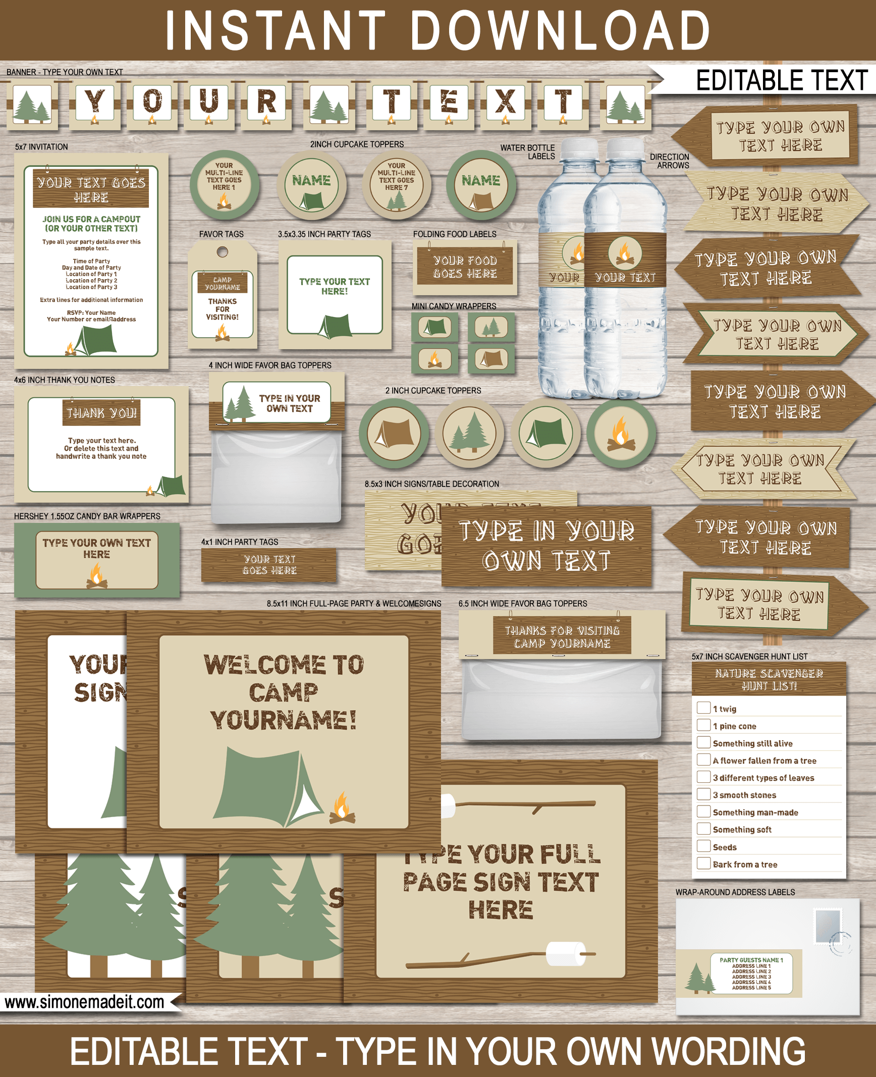 Camping Party Printables Birthday Theme Diy Editable Printable Templates Instant Download Via Png 1736x2134