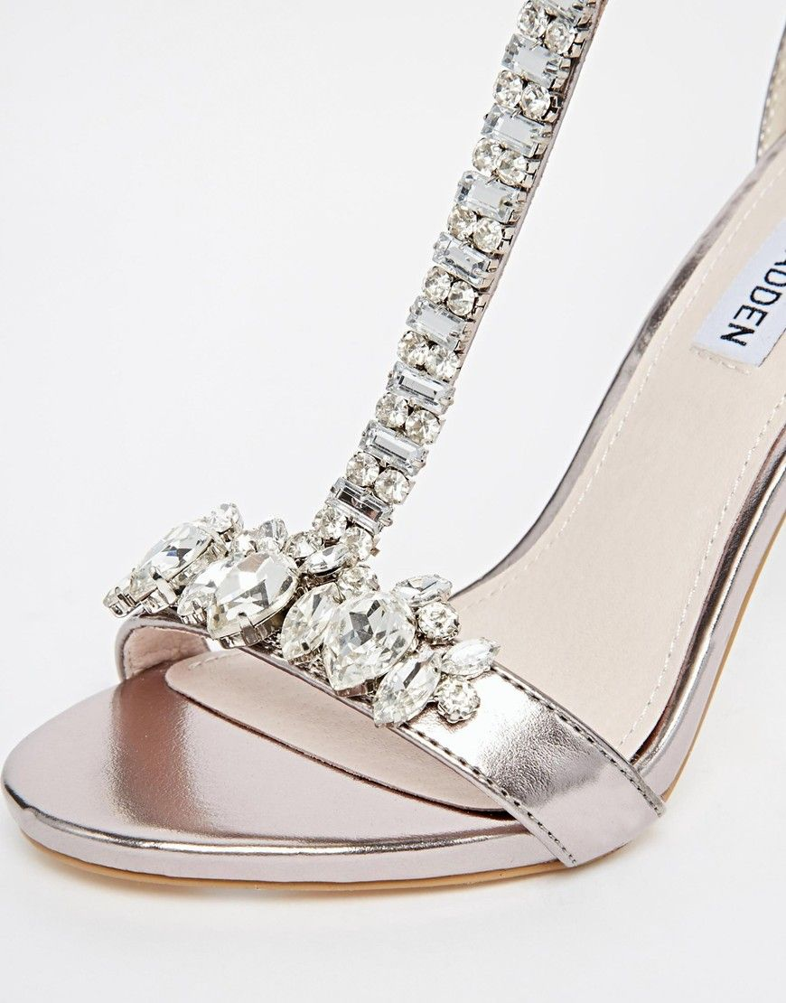 Image 2 of Steve Madden Shawna Silver Embellished T Bar Heeled Sandals