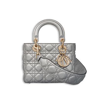 assez bon marché technologies sophistiquées femme Petit sac « lady dior » en veau grainé métallisé argenté ...