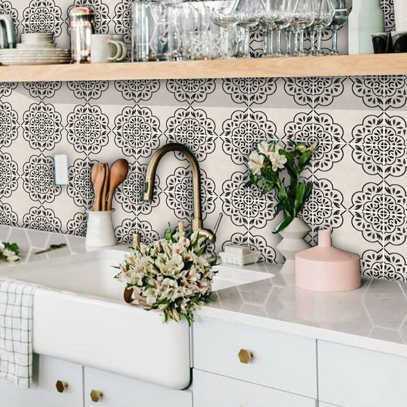 Kitchen And Bathroom Splashback Removable Vinyl Wallpaper Etsy In 2021 Bathroom Splashback Vinyl Wallpaper Kitchen Wallpaper