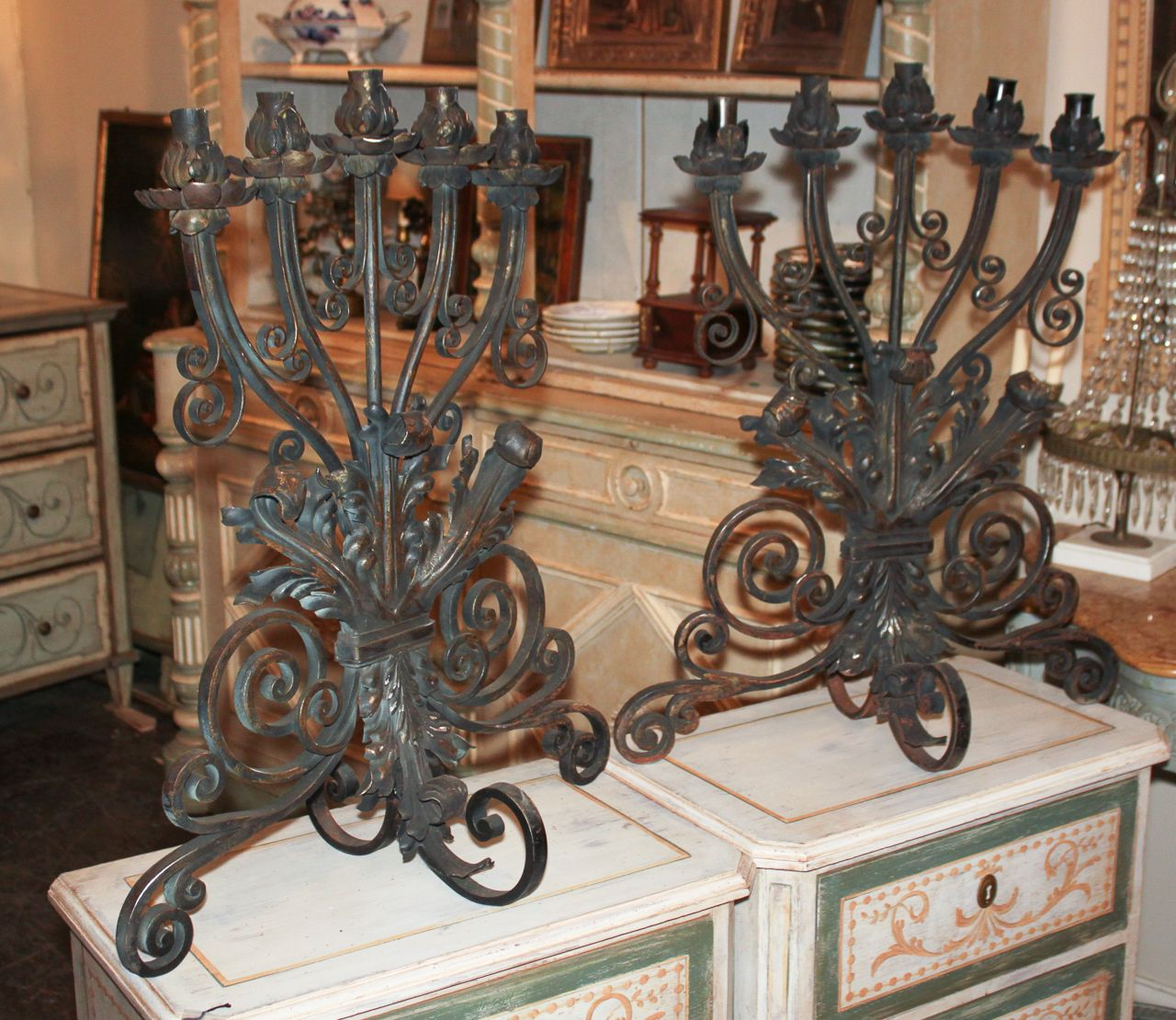 pair of french iron fireplace candelabrafor antique home