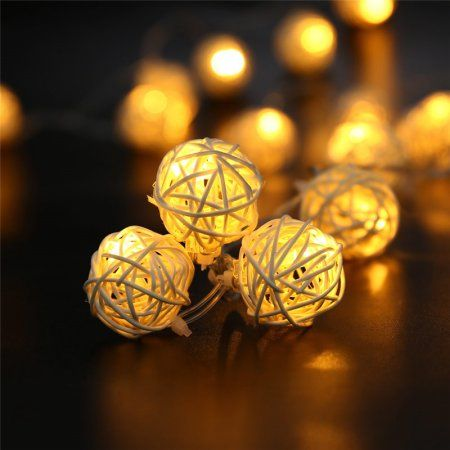 LUCKLED Battery Operated String Lights, 20 Led Rattan Ball LED