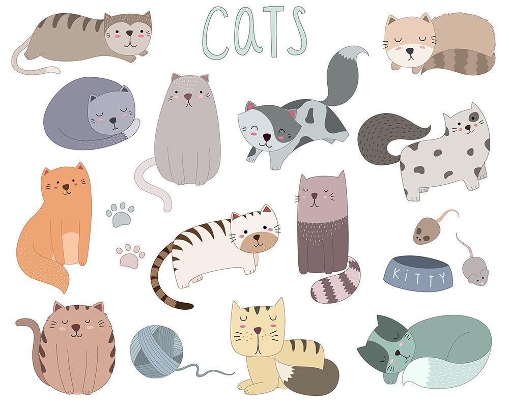Cute Cat Clip Art Set Of 19 Vector Png Jpg Files Hand Drawn Unique Kitty Clipart Cat Vector Cute Animal Clipart Animal Clipart
