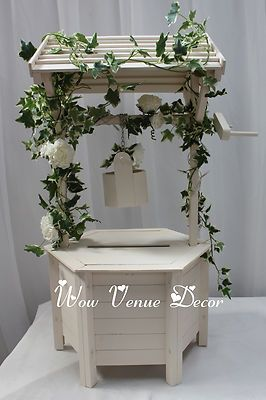 Wooden Wedding wishing well white ivory card box. Incl Lid As ...
