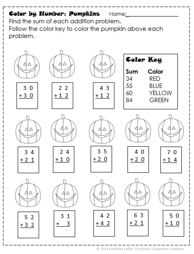 A Halloween Freebie-Double Digit Addition and a Color-by-number ...