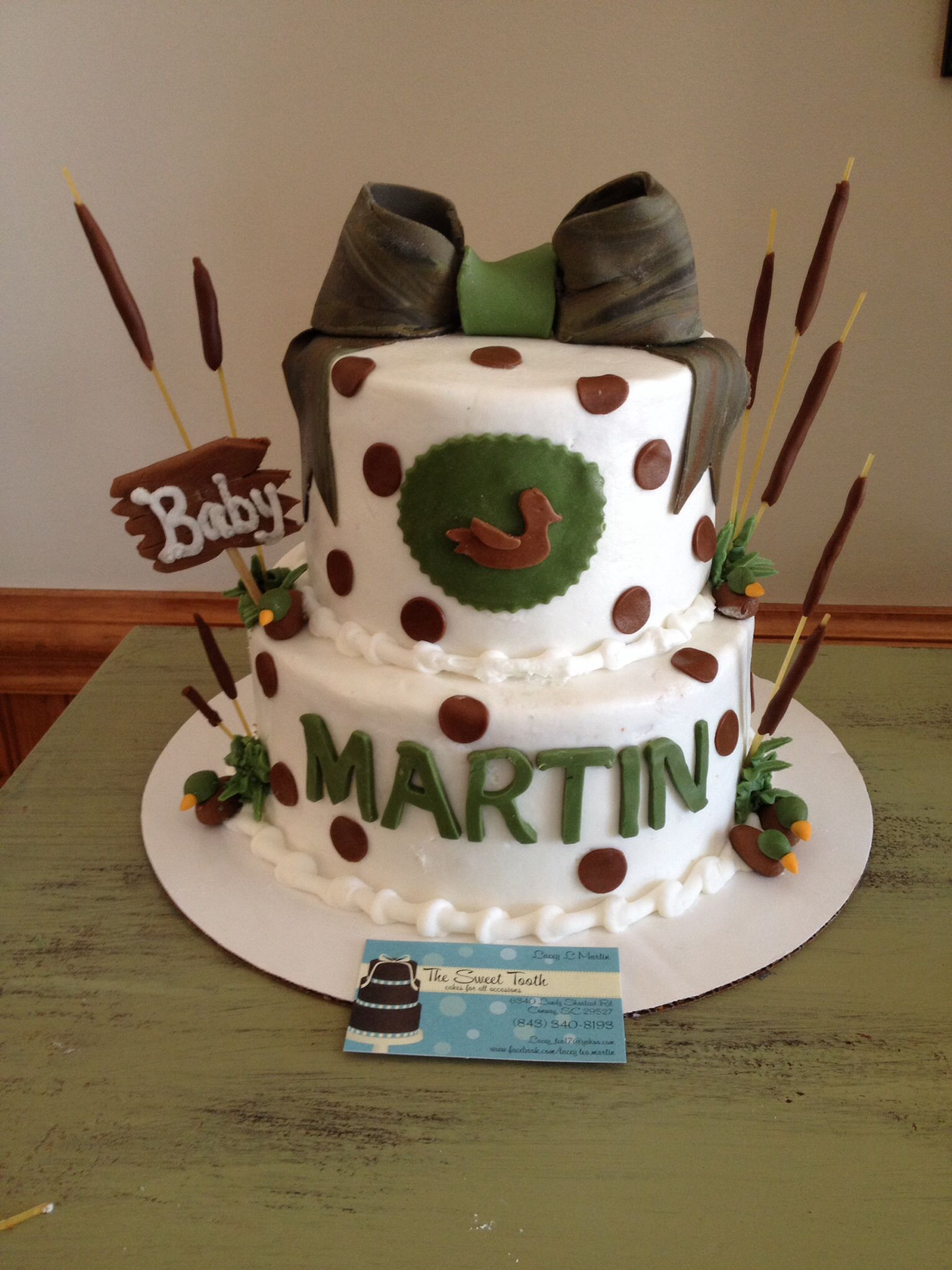 Duck hunting themed baby shower cake Baby shower cake