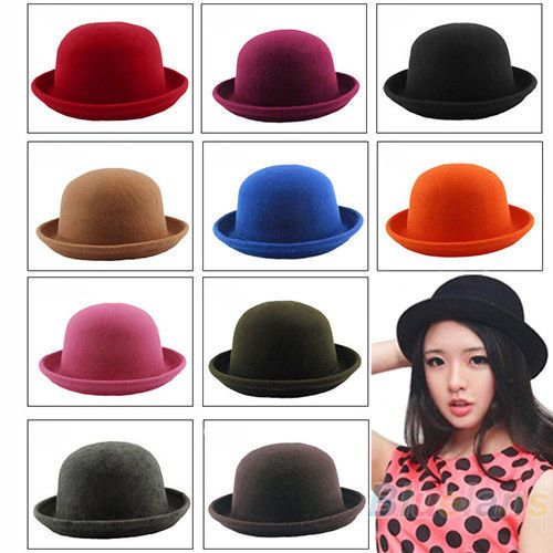 7730ace113769 Women Lady Girl Fashion Vintage Wool Bowler Derby Hat Dinner Party Ball Cap  B82U  Fashion  Style  Deal