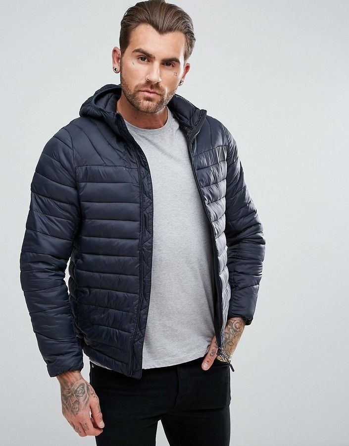 Pullbear Quilted Jacket With Hood In Navy Mens Fashion