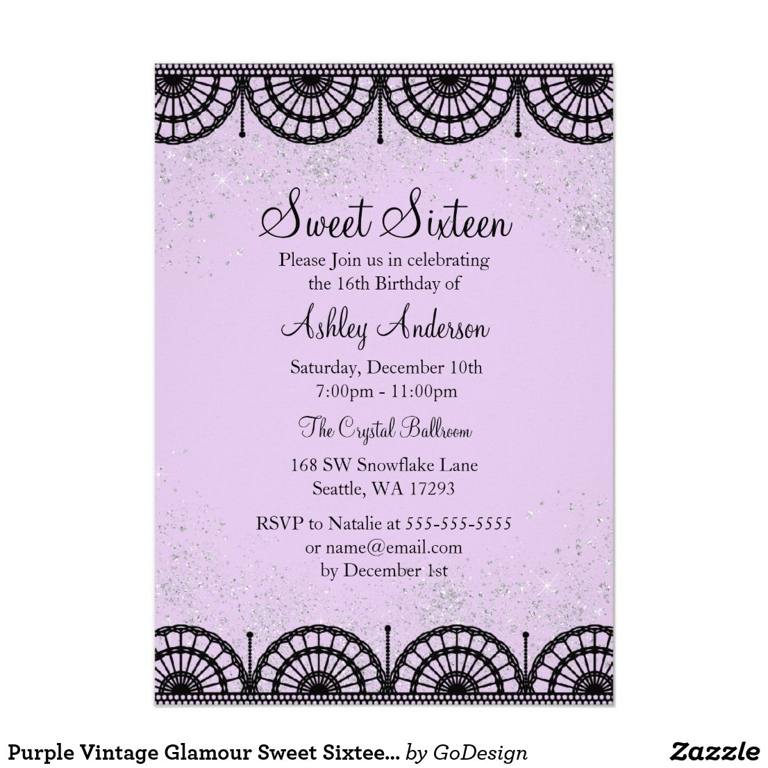 06d2414ea83 Purple Vintage Glamour Sweet Sixteen Invite Elegant Black lace   sparkle  glitter. Available in more colors in the GoDesign Store!