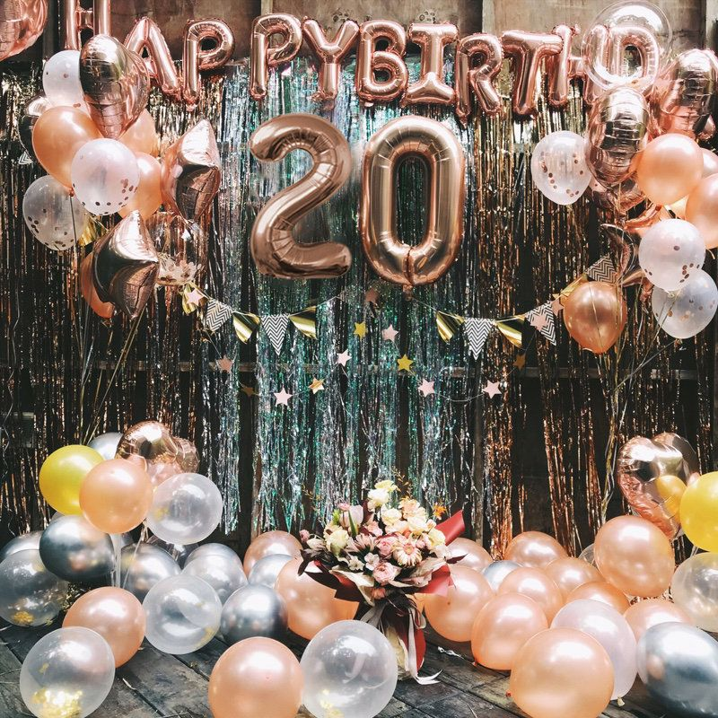 Decorations for 20th Birthday Party,Gold and Blue Theme Supplies 20th Birthday Party Balloons for Men Boy Women Girl