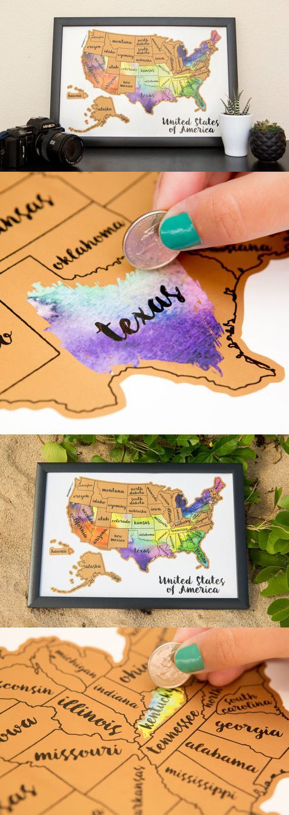 United States Watercolor Scratch Map Bright Colours Coins And - Scratch off us state maps with pencil