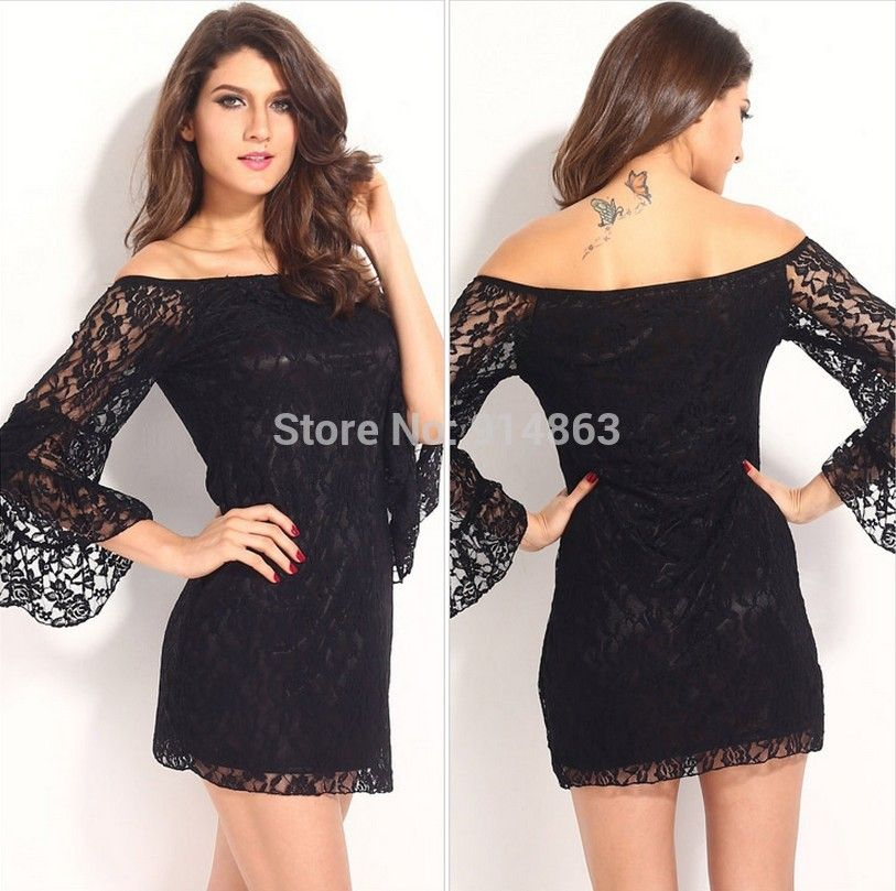 Short Black Lace Prom Dress With Sleeves - Missy Dress